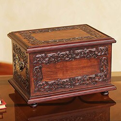 Handmade Mohena Wood and Leather 'Andean Elegance' Jewelry Box (Peru)