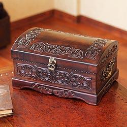 Handmade Mohena Wood and Leather 'Colonial Legacy' Jewelry Box (Peru)