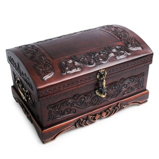 Handmade Mohena Wood and Leather 'Colonial Legacy' Jewelry Box (Peru)