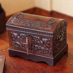 Colonial Mystique Treasure Chest with Bronze Lock and Key Brown Handmade Leather and Mohena Wood Artisan Jewelry Box (Peru)