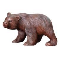 Handmade Suar Wood 'Curious Brown Bear' Sculpture (Indonesia)