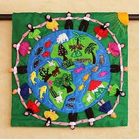 Handcrafted Cotton Blend 'Our World' Applique Wall Hanging  , Handmade in Peru