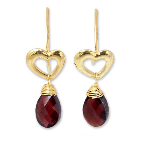 1270618a803c0e Shop Handmade Gold Overlay 'Time To Love' Garnet Earrings (Thailand ...