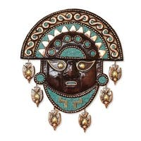 Handmade Bronze and Copper 'Mighty Moche' Mask (Peru)