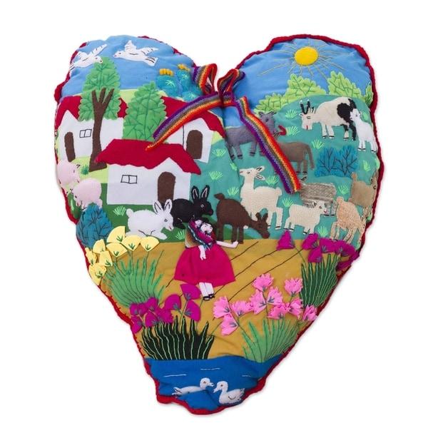 Handmade Cotton Blend 'I Love Our Andean Farm' Applique Throw Pillow (Peru)
