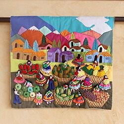 Handmade Cotton Blend 'Veggie Market' Applique Wall Hanging (Peru)