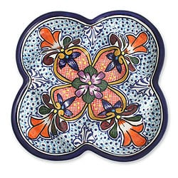 Talavera-style Ceramic 'A Taste of Mexico' Appetizer Plate (Mexico)