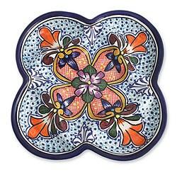 Handmade Talavera-style Ceramic 'A Taste of Mexico' Appetizer Plate (Mexico)