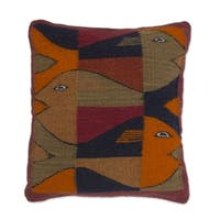 Handmade Wool 'Fish' Zapotec Cushion Cover (Mexico)