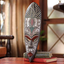 Handcrafted Sese Wood 'Shaku' African Mask  (Ghana)