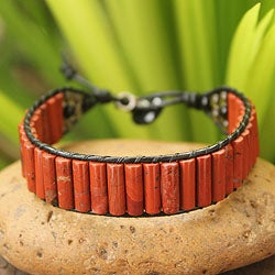 Handmade Leather 'Scarlet Earth' Multi-gemstone Bracelet (Thailand)