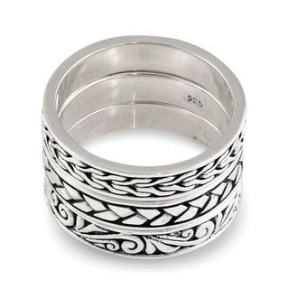 Handmade Set of 3 Men's Sterling Silver Three Principles Rings (Indonesia)