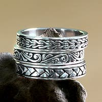 Handmade Set of 3 Men's Sterling Silver 'Three Principles' Rings (Indonesia)