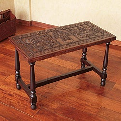 Mohena Wood and Leather 'Inca Mailman' Coffee Table (Peru)