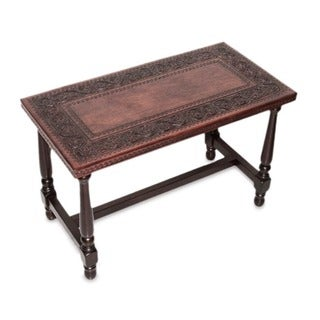 Colonial Foliage Traditional Dark Brown Highly Polished Modena Wood with Hand Tooled Leather Artisan Accent Coffee Table (Peru)