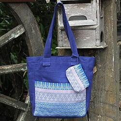 Cotton 'Blue Iris' Medium Tote Bag and Change Purse (Thailand)