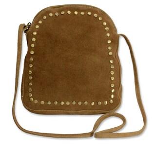 Handmade Suede Leather 'Sands of Thar' Medium Shoulder Bag (India)