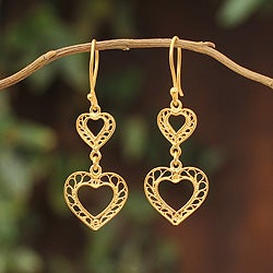 Gold Overlay 'Our Two Hearts' Filigree Earrings (Peru)