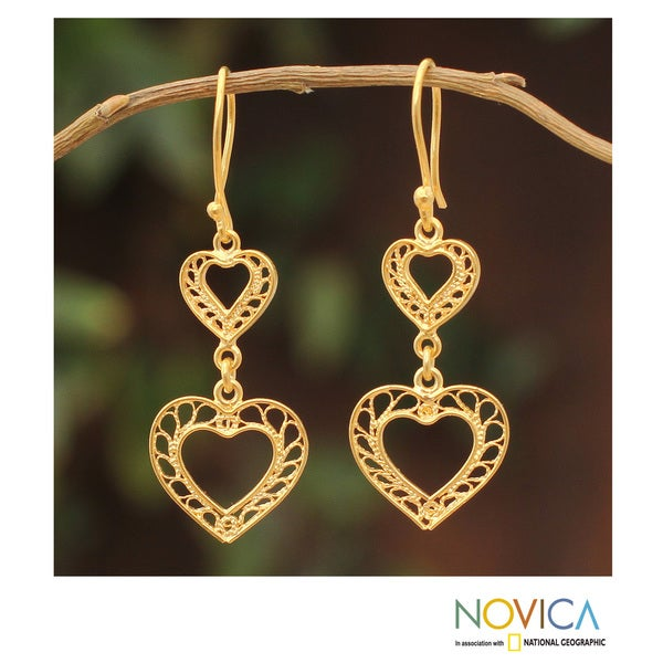 Handmade Gold Overlay 'Our Two Hearts' Filigree Earrings (Peru)