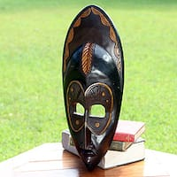 Handcrafted Sese Wood 'Mena' African Mask (Ghana)