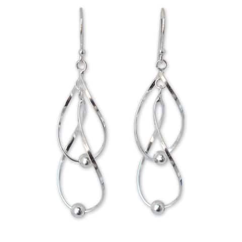 Handmade Sterling Silver Fabulous White Dangling Style Earrings (Thailand) - Sterling Silver