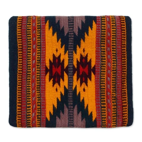 Handmade Wool and Cotton Cushion Cover Zapotec Butterfly (Mexico)