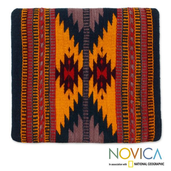 Handmade Wool and Cotton Cushion Cover 'Zapotec Butterfly' (Mexico)