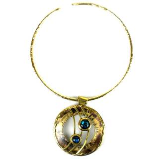 Handmade Ripple Effect Paua Shell and Brass Pendant Necklace (South Africa)