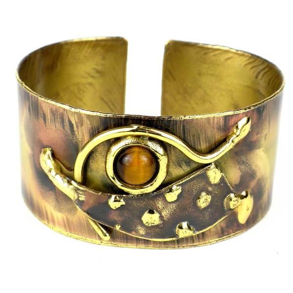 Handmade Tucked Tigers Eye Brass Cuff (South Africa)