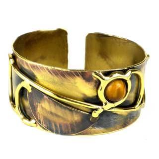 Handmade Symphony Tiger Eye Brass Cuff (South Africa)