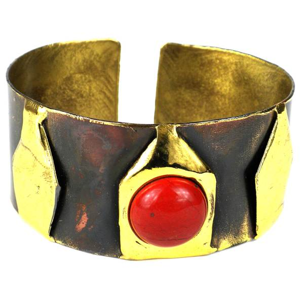 Handmade Red Jasper Brass Cuff (South Africa)