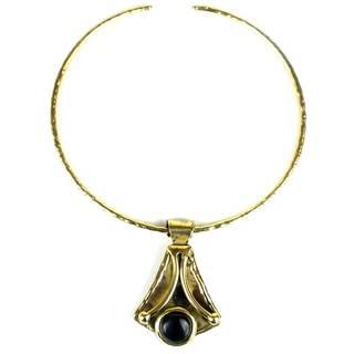 Handmade Reborn Blue Tiger Eye Brass Pendant Necklace (South Africa)