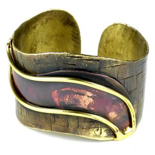 Handmade Red Wave Copper and Brass Cuff (South Africa)