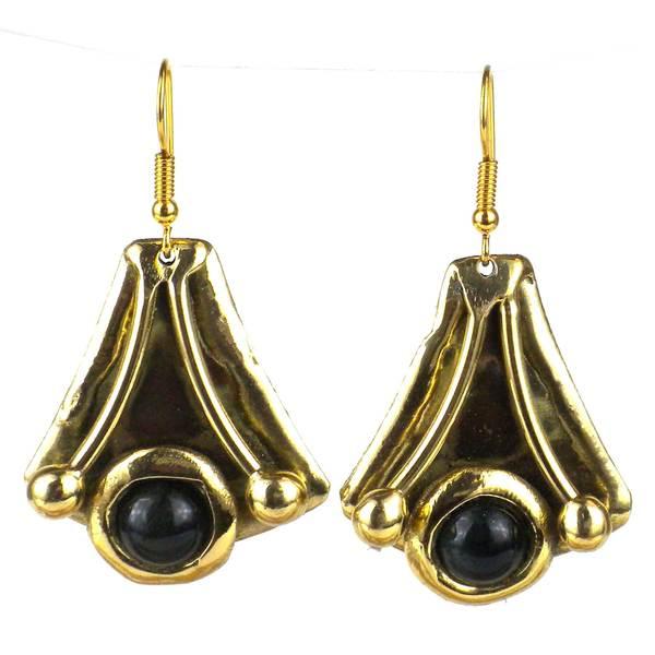 Handmade Reborn Blue Tiger Eye Brass Earrings (South Africa)
