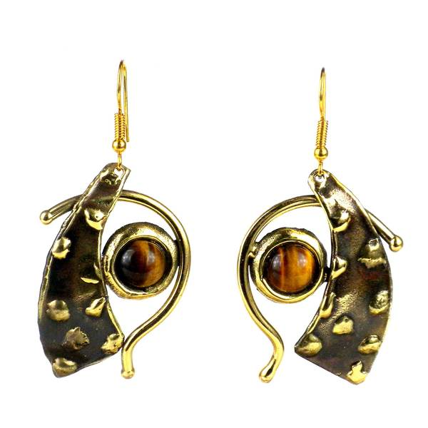 Handmade Tucked Tiger Eye Brass Earrings (South Africa)