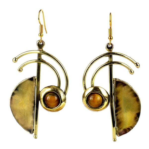 Handcrafted Symphony Golden Tiger Eye Earrings (South Africa)