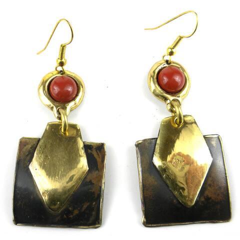 Handmade Red Jasper Brass Earrings (South Africa)
