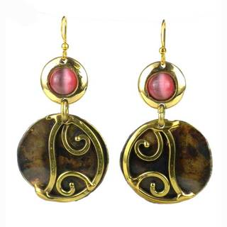 Handmade Pink Tiger Eye and Brass Scroll Earrings (South Africa)