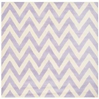 Safavieh Handmade Moroccan Cambridge Chevron Lavender Wool Rug (6' Square)