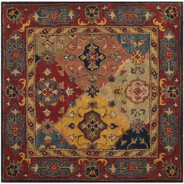 Safavieh Handmade Heritage Timeless Traditional Red Wool Rug - 4' x 4' Square