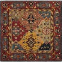 Safavieh Handmade Heritage Timeless Traditional Red Wool Rug - 4' Square