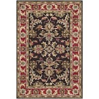 Safavieh Handmade Heritage Timeless Traditional Chocolate Brown/ Red Wool Rug - 4' x 6'