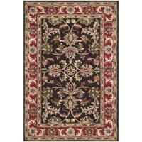 Safavieh Handmade Heritage Timeless Traditional Chocolate Brown/ Red Wool Rug - 5' x 8'
