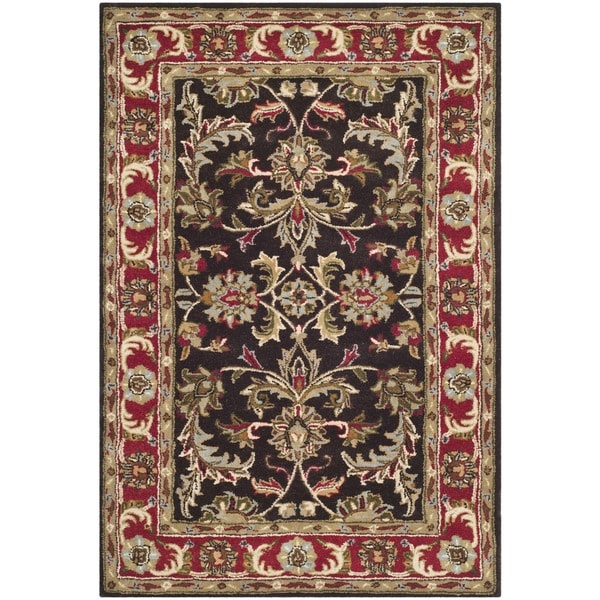 Safavieh Handmade Heritage Timeless Traditional Chocolate Brown/ Red Wool Rug (5' x 8')