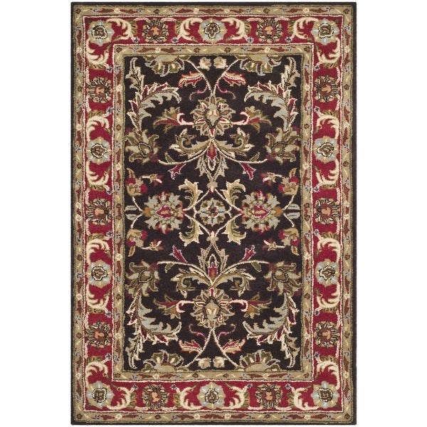Safavieh Handmade Heritage Timeless Traditional Chocolate Brown/ Red Wool Rug - 5' x 8'