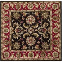 Safavieh Handmade Heritage Timeless Traditional Chocolate Brown/ Red Wool Rug - 6' Square
