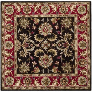 Safavieh Handmade Heritage Timeless Traditional Chocolate Brown/ Red Wool Rug (8' Square)