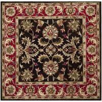 Safavieh Handmade Heritage Timeless Traditional Chocolate Brown/ Red Wool Rug - 8' Square
