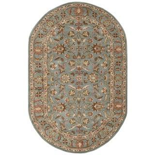 Safavieh Handmade Heritage Timeless Traditional Blue Wool Rug 5 X 8 Oval
