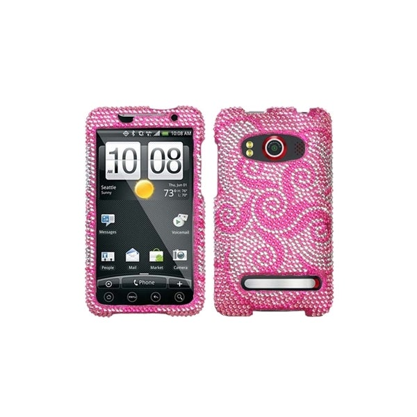 INSTEN Whirl Flower Diamante Phone Protector Phone Case Cover for HTC EVO 4G
